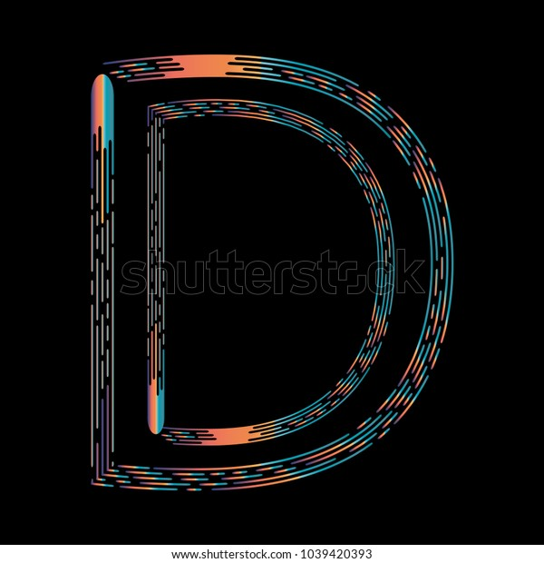 """""""D"""" Typographic Icon On Dark Background. Graphic Font For Your Design Background. Design Concept For Graphic, Banners, Presentations, Wallpaper, Reports. Vector Illustration.  Eps10"""