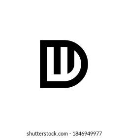 d w dw wd initial logo design vector graphic idea creative