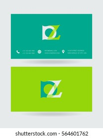 D & Z Letter logo design vector element with Business card