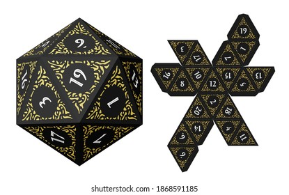D20 Isometric Dice for Boardgames With Paper Unwrap Template
