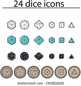 D4, D6, D8, D10, D12, and D20 Dice for Boardgames in Flat. Dungeon and dragons dices.