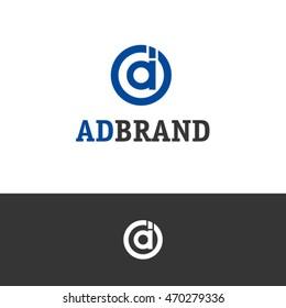 da and ad letter circle logo design