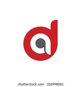 da, ad letter rounded letter logo red