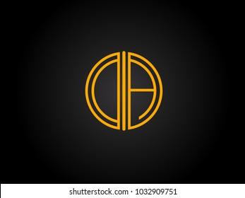 DA Circle Shape golden yellow Letter logo Design