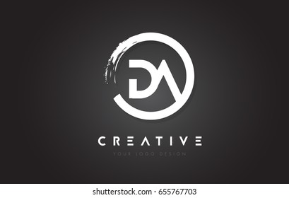 DA Circular Letter Logo with Circle Brush Design and Black Background.