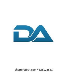 DA company linked letter logo blue