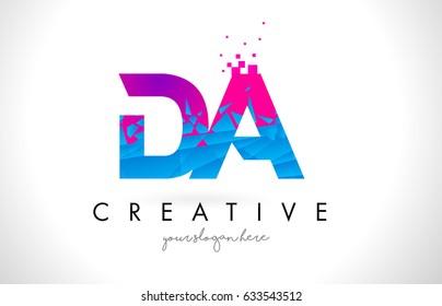 DA D A Letter Logo with Broken Shattered Blue Pink Triangles Texture Design Vector Illustration.