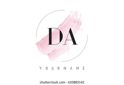 DA D A Watercolor Letter Logo Design with Circular Shape and Pastel Pink Brush.