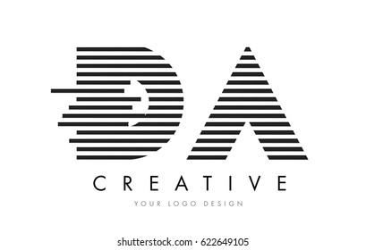 DA D A Zebra Letter Logo Design with Black and White Stripes Vector