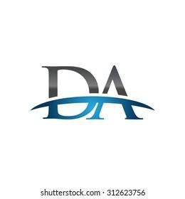 DA initial company blue swoosh logo