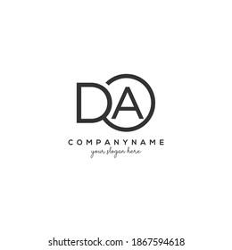 DA Initial letter logo inside circle shape inside rounded black monogram
