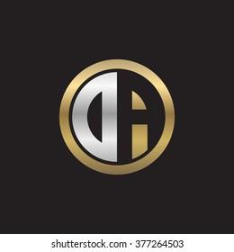 DA initial letters circle elegant logo golden silver black background