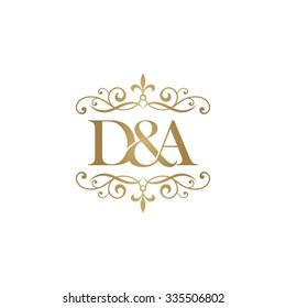 D&A Initial logo. Ornament ampersand monogram golden logo