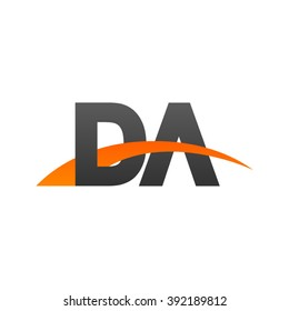 DA initial overlapping swoosh letter logo black orange