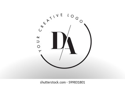DA Letter Logo Design with Creative Intersected and Cutted Serif Font.