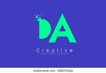 DA Letter Logo Design With Negative Space Concept in Blue and Green Colors Vector