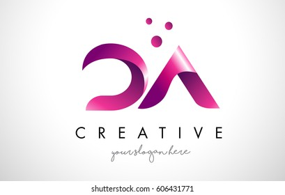 DA Letter Logo Design Template with Purple Colors and Dots