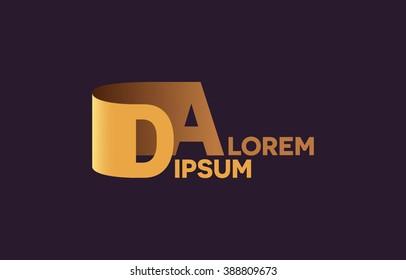 DA letters logo, D and A letters logo alphabet design.