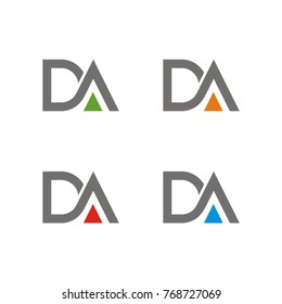 DA logo initial letter design template vector illustration