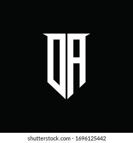 DA logo monogram with emblem shield style design template