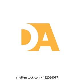 DA Logo. Vector Graphic Branding Letter Element. White Background