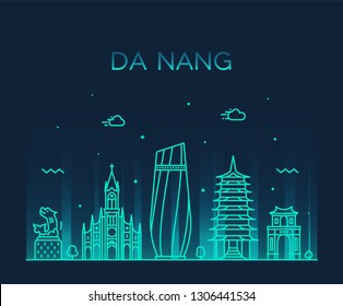 Da Nang skyline, Vietnam. Trendy vector illustration, linear style