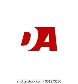 DA negative space letter logo red