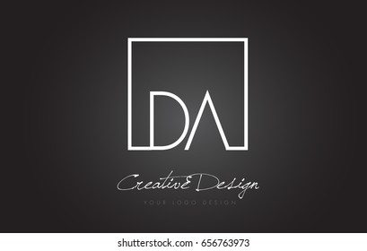 DA Square Framed Letter Logo Design Vector with Black and White Colors.