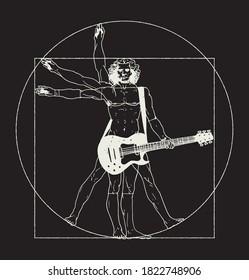 Da Vinci man playing rock guitar. Vitruvian man rock music t-shirt print vector illustration.