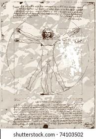 Da Vinci's Vitruvian Man grunge background