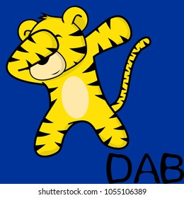 dab dabbing pose tiger kid cartoon in vector format very easy to edit