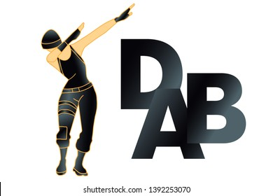 DAB dance, t shirt. Vector. Dabbing girl. Fortnite concept