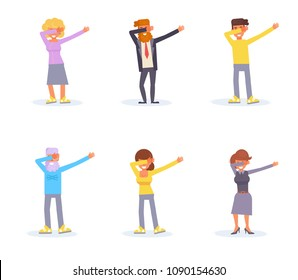 Dab dance Vector. Cartoon. Isolated art on white background. Flat