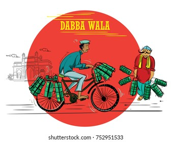 Dabba wala with cycle illustration vector