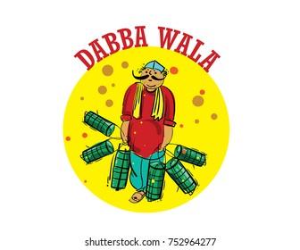 Dabba Wala Mumbai people illustration