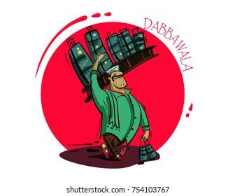 Dabba wala mumbai people illustration vector