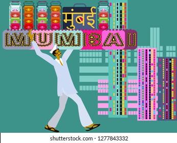 Dabbawala service in Mumbai.Bombay-Marathi language.