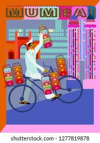 Dabbawala service in Mumbai.Dabba wala with cycle vector illustration.