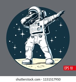 Dabbing astronaut on the moon, vector illustration.