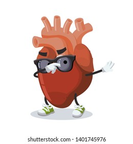 Dabbing cartoon anatomical human heart organ mascot on white background