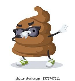 Dabbing cartoon brown piece of shit poop mascot on white background