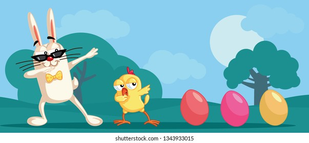 Dabbing Easter Characters Funny Banner. Funny cute characters celebrating spring holidays with a dance