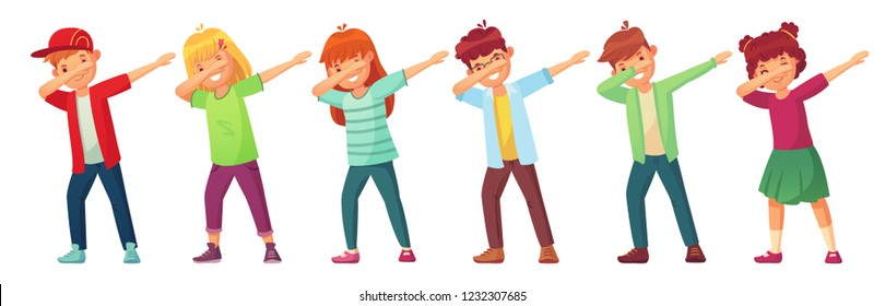 Dabbing kids. Teenagers in dab dance pose, school kid dancing performance and teenager making dab. Funny dabbing dance cartoon vector isolated icons illustration set