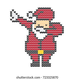 Dabbing Santa Vector Pixel Art Christmas Sweater Knitted Design