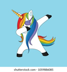 dabbing unicorn with blue background