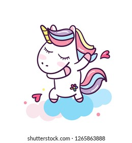 Dabbing unicorn with hearts (happy unicorn expressions) cute cartoon illustration: series Illustration of cute fairytale pony (Happy new year/Christmas)- card and Print for t-shirt. Romantic hand draw