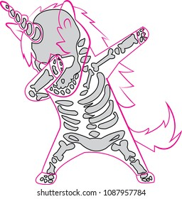 Dabbing unicorn skeleton will decorate your t-shirt