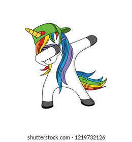 dabbing unicorn vector design, funny dabbing unicorn with hat green