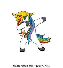 dabbing unicorn vector design, funny dabbing unicorn with hat yellow and style with a necklace