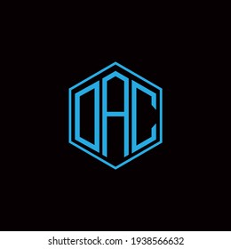 DAC polygon letter icon design on BLACK background.Creative letter DAC - D A C  logo design. DAC initials Polygon Logo design.